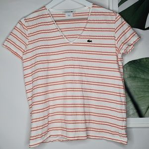 Lacoste Orange Stripe V Neck Cotton Tee Shirt